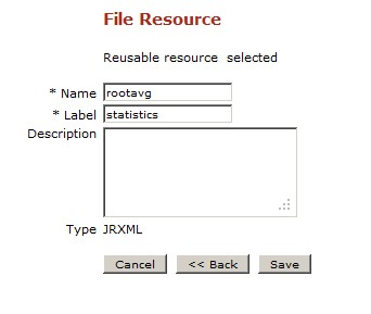 Jasper Server Repository - Labeling the JRXML Resource