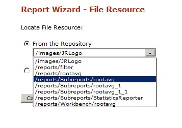 Add subreport as resource in jasper server repository