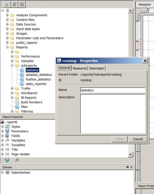 Subreport in IReport Repository