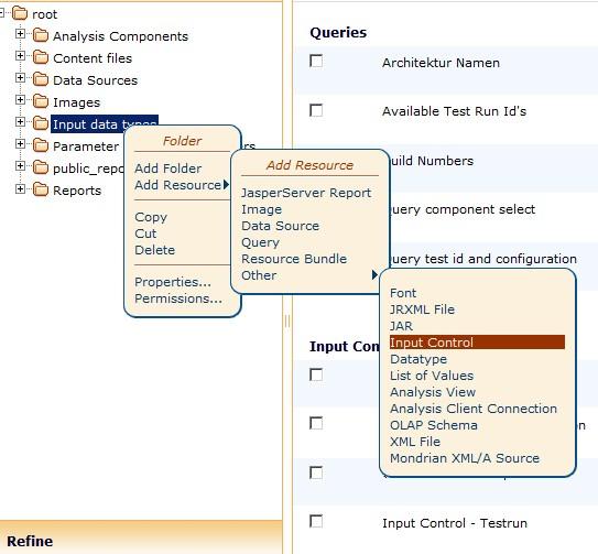 Jasper Server Add Input control